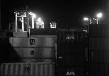 Containers Stacked In Port