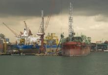 Ships waiting for drydock, Tuas Singapore