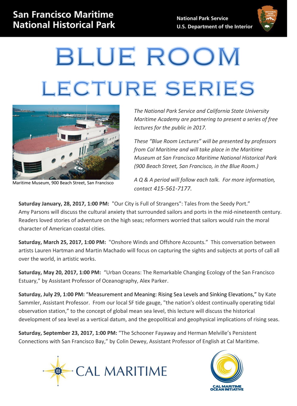 Blue Room lecture series flier